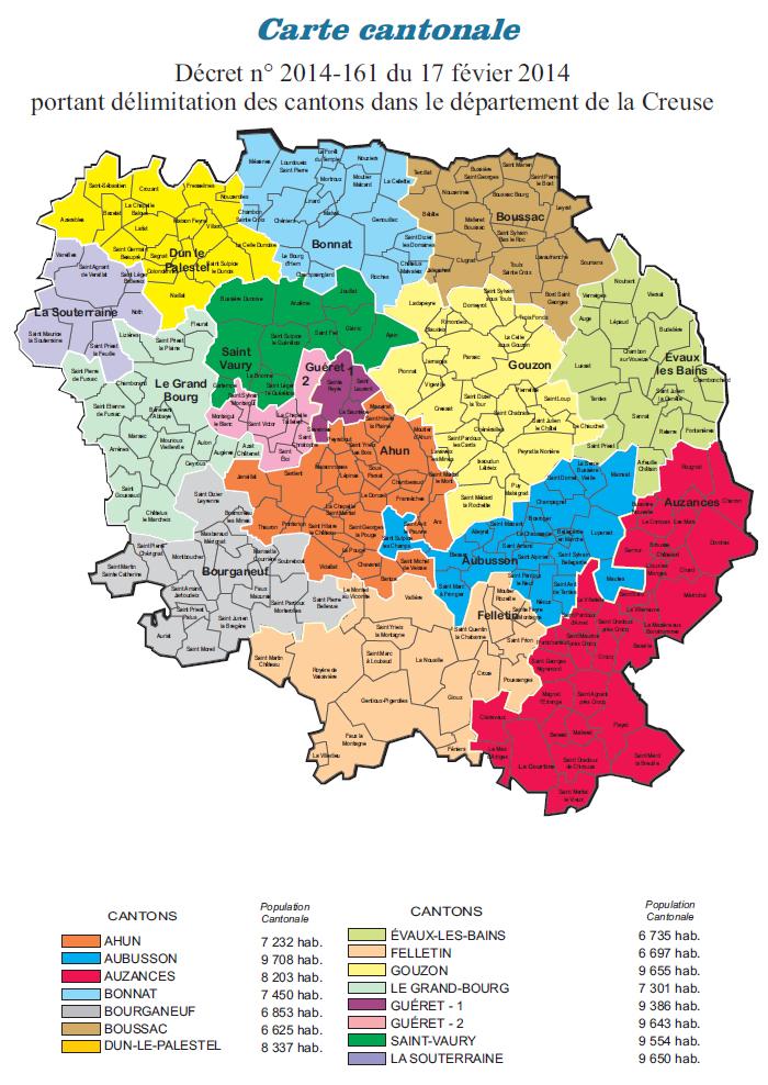 Carte des cantons de la Creuse